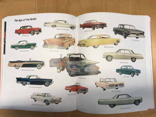 Colourful spread of cars with tailfins from Populuxe