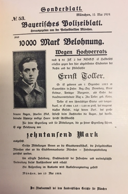 Flyer calling for the arrest of Ernst Toller with his photograph and description
