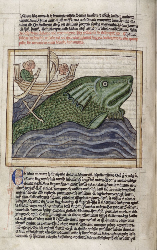A text page from a manuscript, with an illustration of a ship beached on a whale's back