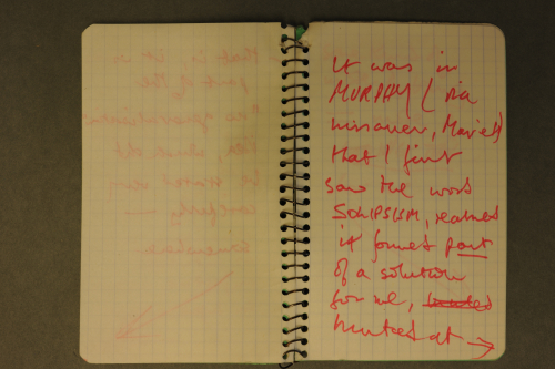 Photograph of open notebook from the archive of BS Johnson