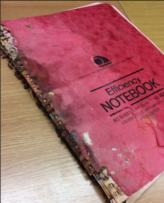 Front cover of mouldy music manuscript sketchbook