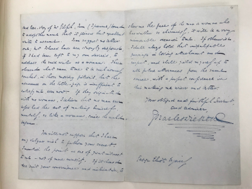 Photograph fo manuscript letter from Charles Dickens to George Eliot