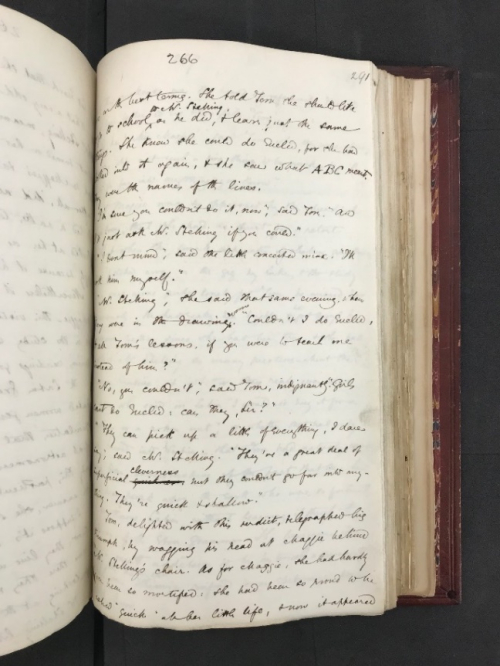 Photograph of manuscript draft of The Mill on the Floss by George Eliot