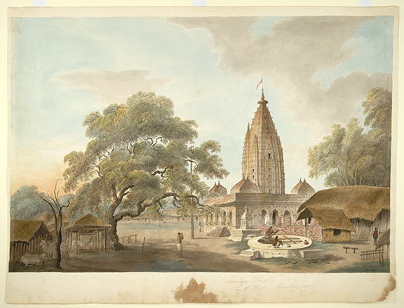 Temple of Maa Samaleswari in the fort, Sambalpur. By the 'Gilbert artist', 1825-27. BL Add.Or.2520