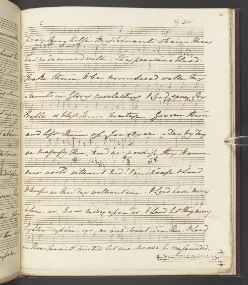 Manuscript showing the last page of the melodic sketch of Prince Albert's Te Deum
