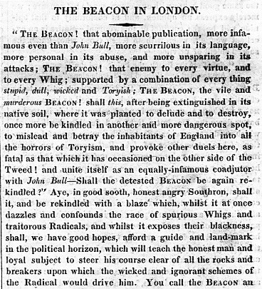 newspaper article, 'The Beacon in London', 21 April 1822
