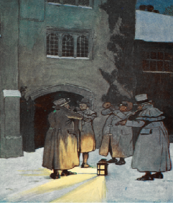 Group of musical night watchmen playing music in the snow around a lamp on the floor outside a large building.