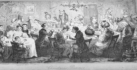 large Christmas dinner in the nineteenth century
