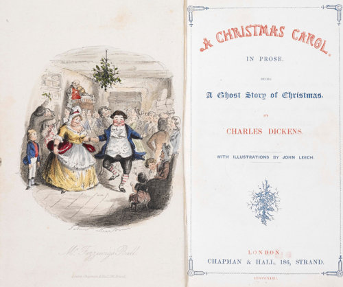 Title page of Dicken's A Christmas Carol with an illustration on the left hand side of a couple dancing while being watched by others