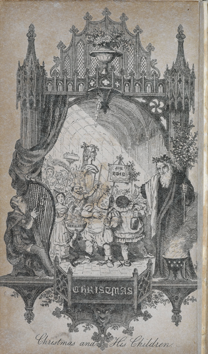 A Father Christmas figure in a kind of ornate gothic doorway with other much smaller characters around him