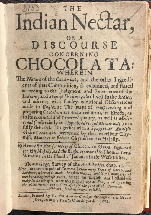 Frontispiece for The Indian Nectar, or a Discourse Concerning Chocolata