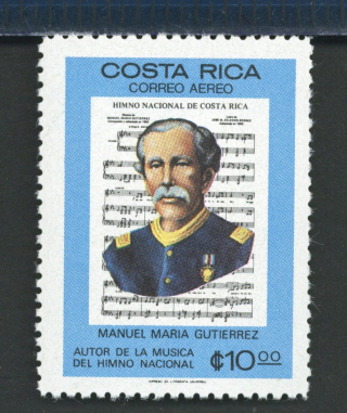 1980 stamp depicting the music of Costa Rica's national anthem with the portrait of Manuel Maria Gutierrez in front of it