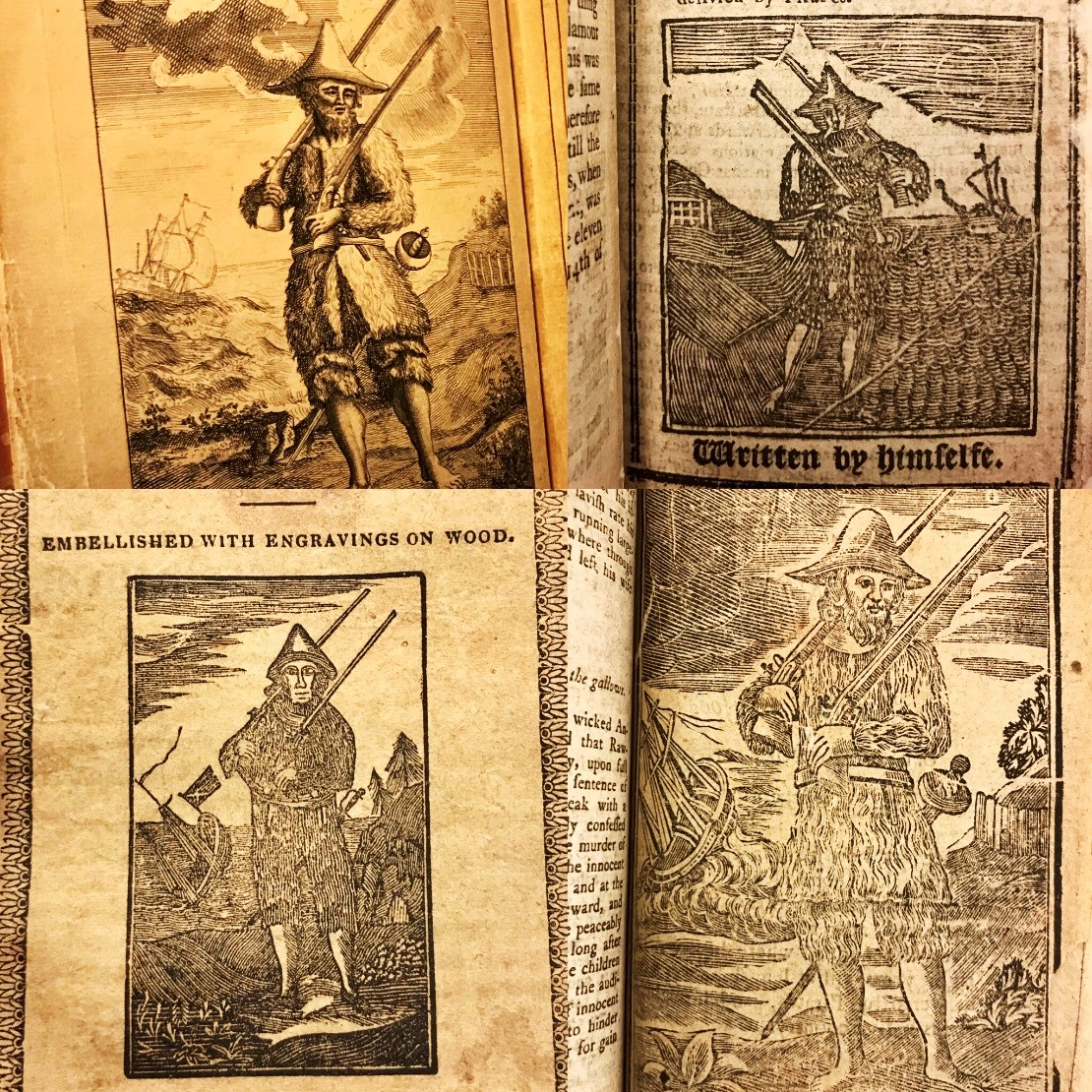 Portraits of Robinson Crusoe. John Pine's first edition frontispiece (C.30.f.6) is top left.  Later woodcuts from a variety of chapbooks can be seen to retain the composition.