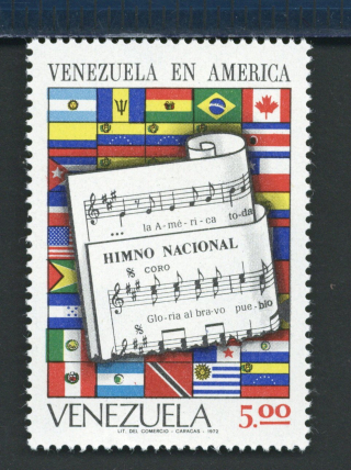 1972 stamp from Venezuela illustrating the anthem's score overlaying flags for every nation in the Americas and Caribbean