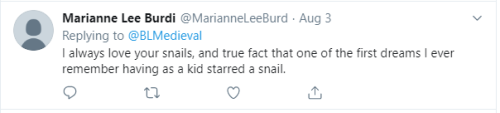 Marianne Lee Burdi tweet: 'I always love your snails'