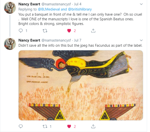 Nancy Ewart tweet: 'You put a banquet in front of me & tell me I can only have one? ONE of the manuscripts I love is the Spanish Beatus'