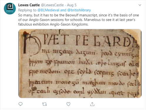 Lewes Castle tweet: 'So many, but it has to be the Beowulf manuscript'