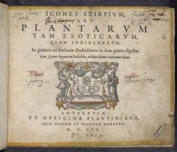 Title page of Icones stirpium, seu Plantarum tam exoticarum quam indigenarum