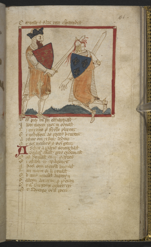 Medieval manuscript with a picture of Arthur, dressed in chainmail, slicing open the head of a knight with his sword