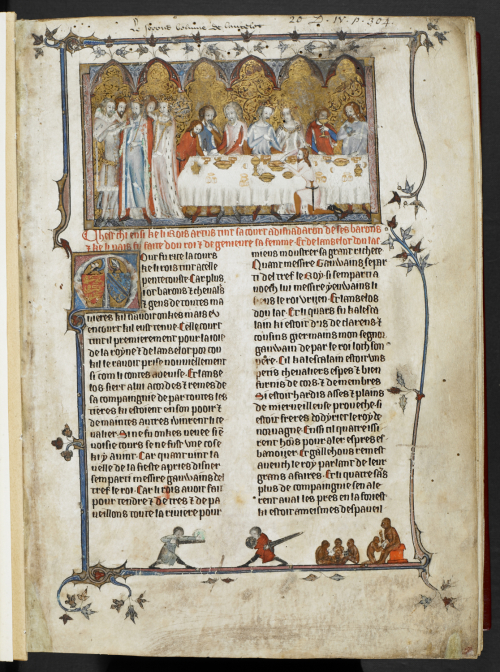 Medieval manuscript showing a group of nobles feasting