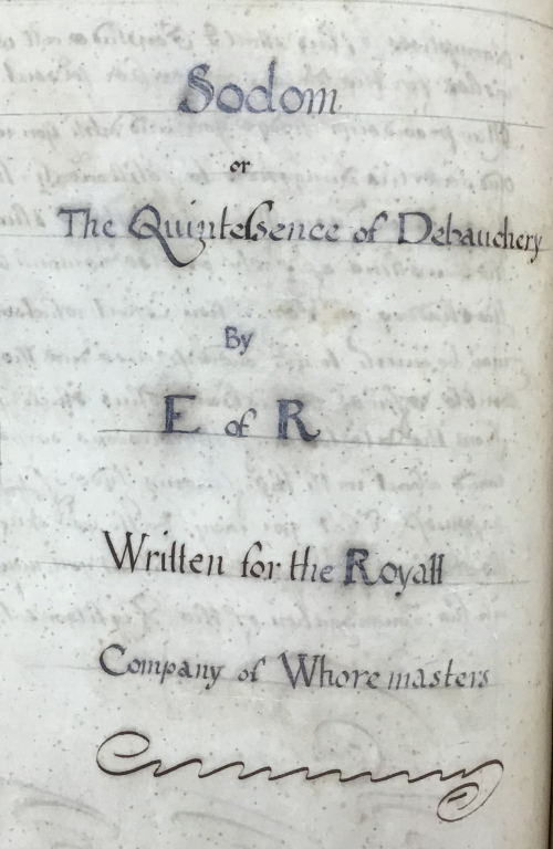 Manuscript title page for 'Sodom, or the Quintessence of Debauchery'