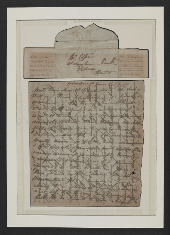 Letter written by Emma Larkins in Cawnpore 9 June 1857 and smuggled out by her Ayah
