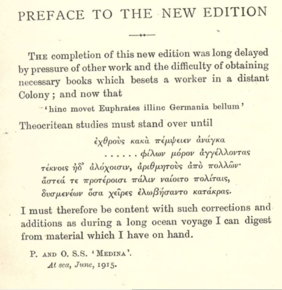 Cholmeley's preface to his new edition of The Idylls of Theocritus