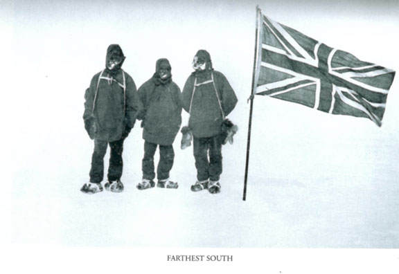 Eric Marshall, Frank Wild and Ernest Shackleton at their Farthest South latitude