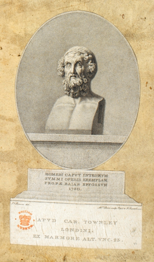 A print of a stone sculpture of the head and shoulders of an elderly man with a thick, curly beard and hair