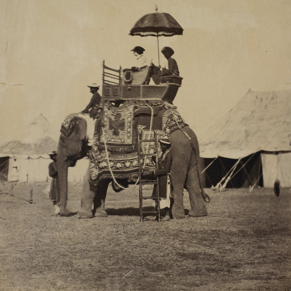 Lady Charlotte Canning sitting in a howdah on an elephant
