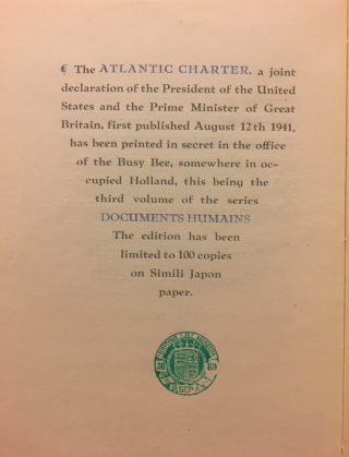 Colophon of the Atlantic Charter, printed in blue and black ink with the British Library's green acquisition stamp