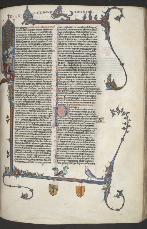 The whole page of the manuscript, with the fox holding the cockerel in its mouth in the upper margin