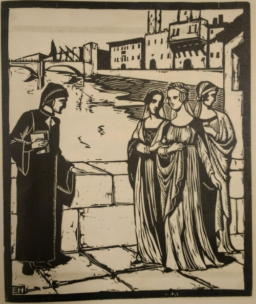 Woodcut depicting the meeting of Dante and Beatrice