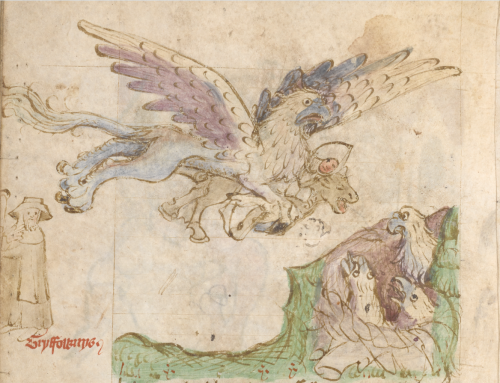 A griffin carrying a horse to its nest