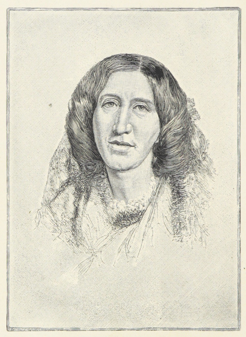 Engraving of a portrait of George Eliot in 1865