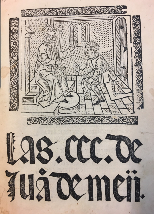 Woodcut of the poet Juan de Mena doffing his cap to King John II