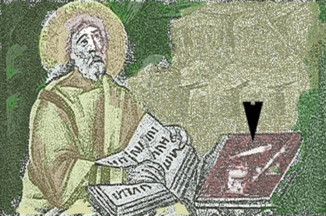 St Matthew writing with a quill