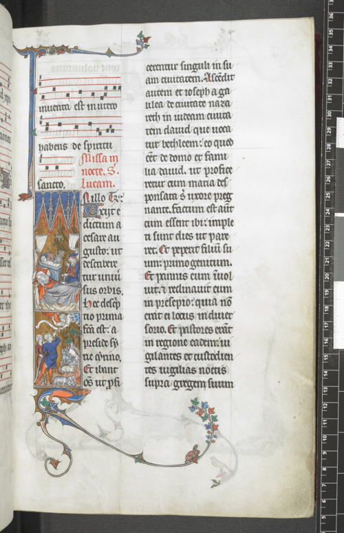 A page from a medieval manuscript with two columns of text. In the lower half of the left column is a large decorated initial 'I'.