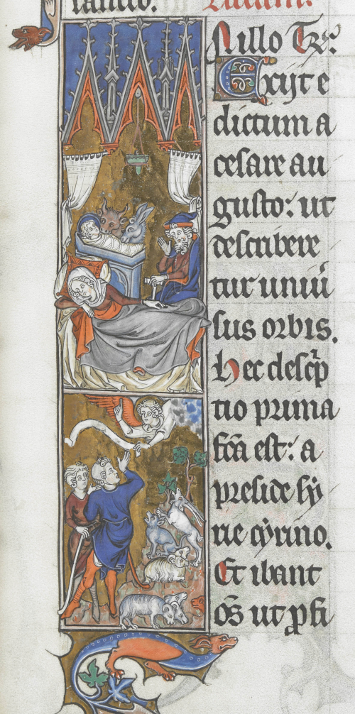 A close-up of the decorated initial from the last picture. It contains a Nativity scene in the upper half and the annunciation to the shepherds in the lower half.