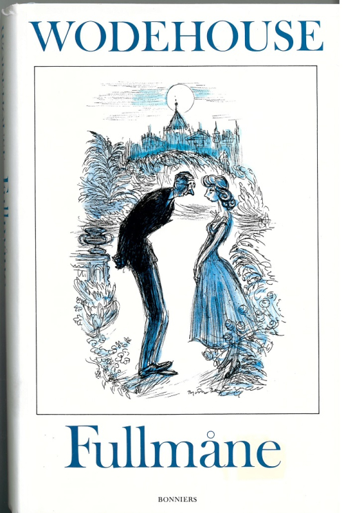 Cover of a Swedish Wodehouse translation showing a man and woman in a garden at night