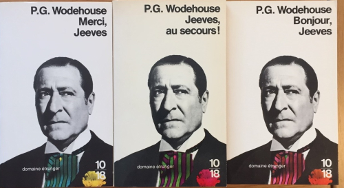 Covers of three French Wodehouse translations showing actor Arthur Treacher in the role of Jeeves