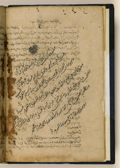 Bio-bibliographical note in the rough draft of an Arabic translation of Gnomonices libri octo by Christophorus Clavius (d. 1537 or 38). The translation is by Rustam Beg al-Ḥārithī al-Badakhshī ibn Qubād Beg (d. 1705) and the note is by his son, Mīrzā Muḥammad – more on this in our earlier post East-West knowledge transfer in Mughal India (IO Islamic 1308, f.