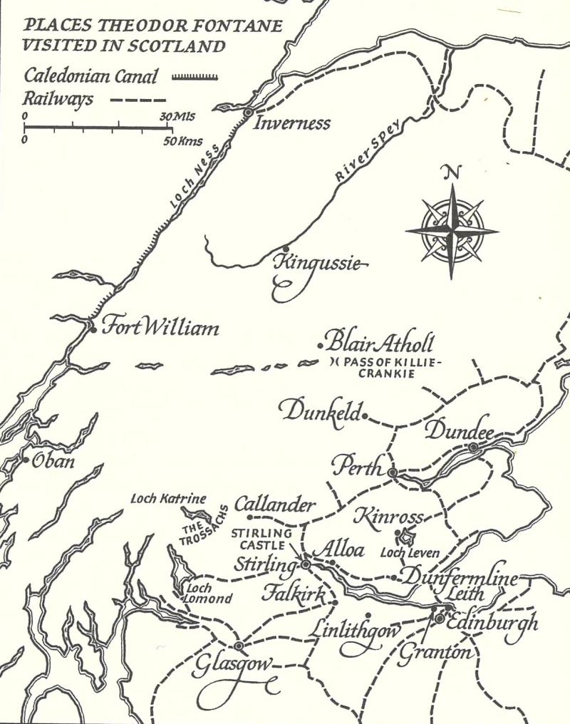 Map of Fontane's Scottish tour