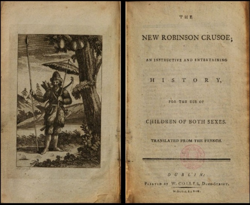 Title page and frontispiece (shopwing Robinson standing under a tree)  of a 1789 English translation, 'The New Robinson Crusoe'