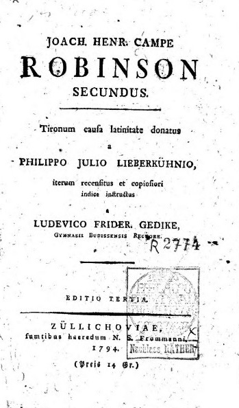 Title page of a Latin translation, 'Robinson Secundus' 1794