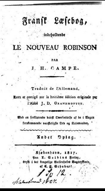 Title page of a French translation of 'Robinson der Jüngere' with Danish notes 1817