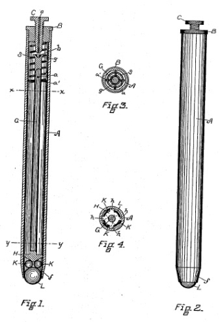 Image of a sketch of Ball point pen US patent US392046