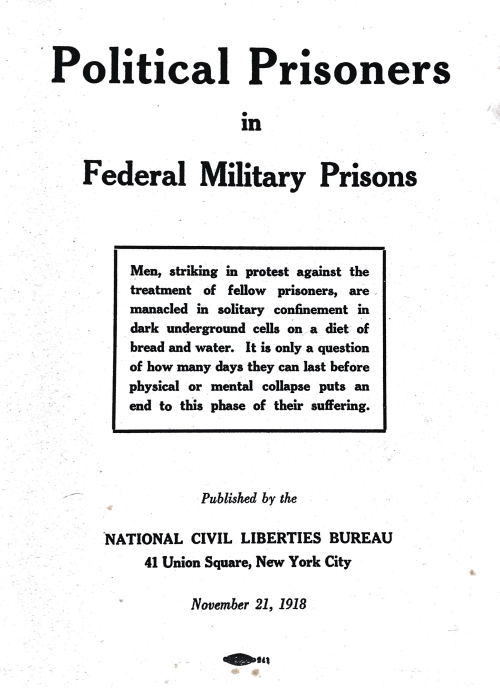 Frontispiece for Political Prisoners in Federal Military Prisons