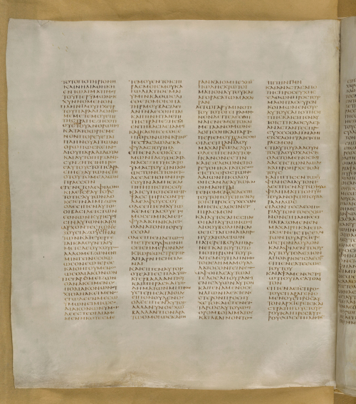 A page from the Codex Sinaiticus with four columns of stately Greek script.