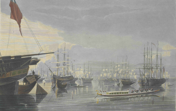 Calcutta - ships near Smith's Docks 1820s